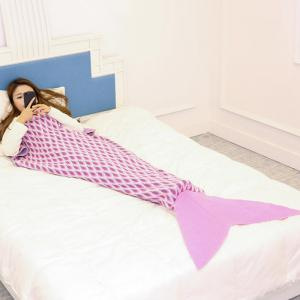 Knitted Peacock Pattern Mermaid Tail Blanket Throw -