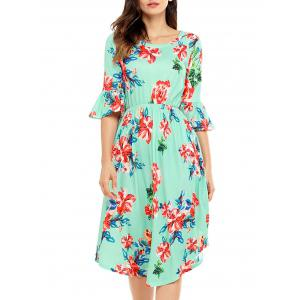 Flare Sleeve Floral Midi Dress