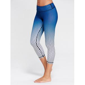 Printed Ombre Capri Funny Gym Leggings - Blue - Xl