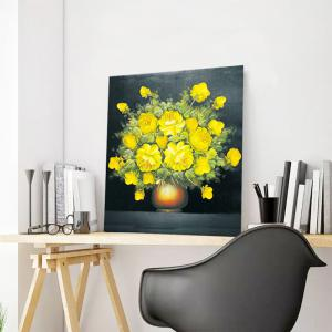 DIY 5D Resin Diamond Rosa Chinensis Paperboard Painting - YELLOW