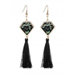 Faux Gemstone Geometric Tassel Hook Earrings
