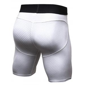 3D Geometric Print Quick Dry Fitted Gym Shorts - WHITE XL