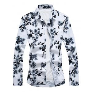 Long Sleeve Plum Blossom Floral Print Shirt