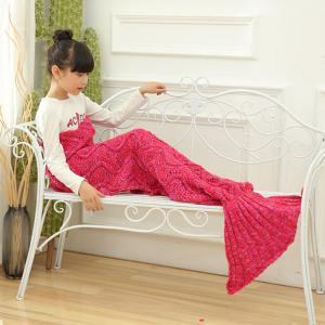 Wave Knitted Sofa Sleeping Kids Mermaid Blanket - Rouge 137*70CN-M