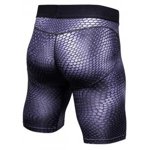 Fitted 3D Geometric Print Gym Shorts - PURPLE XL