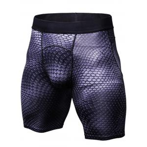 Fitted 3D Geometric Print Gym Shorts