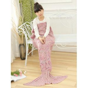 Wave Knitted Sofa Sleeping Kids Mermaid Blanket - Pink - 137*70cn-m