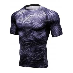 3D Geometric Print Quick Dry Fitted Gym T-shirt