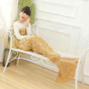 Wave Knitted Sofa Sleeping Kids Mermaid Blanket -