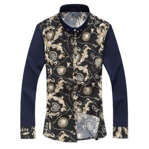 Retro Print Button Down Shirt