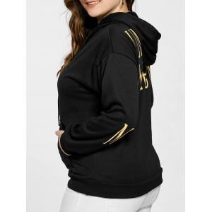 Kangaroo Pocket Letter Print Plus Size Hoodie - Black - Xl