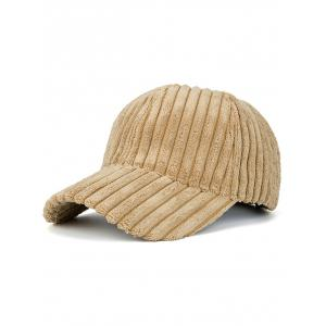 Faux Fur Winter Warm Striped Baseball Cap - Khaki