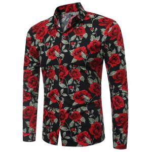 3D Roses Print Long Sleeve Shirt - Black - M