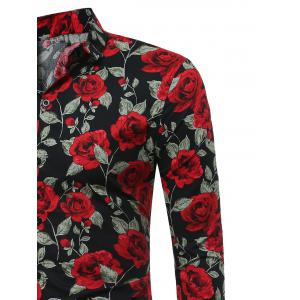 3D Roses Print Long Sleeve Shirt -