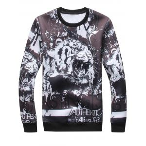 3D Tiger Graphic Print Sweatshirt