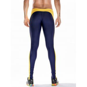 Badge Print Side Stripe Stretchy Gym Pants - Bleu Foncé L
