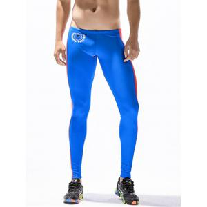 Badge Print Side Stripe Stretchy Gym Pants - COLOR BLUE L