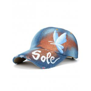 Butterfly Letters Hand Painted Printing Baseball Cap - Light Blue - One Size