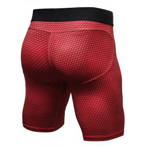 3D Geometric Print Quick Dry Fitted Gym Shorts - RED M