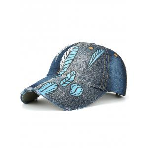 Hand Painted Leaf Printing Color Blocking Baseball Cap - Deep Blue