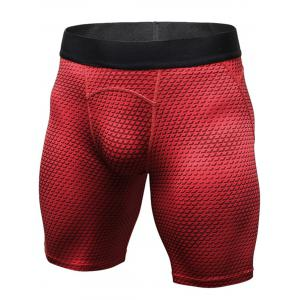 3D Geometric Print Quick Dry Fitted Gym Shorts - Red - 2xl