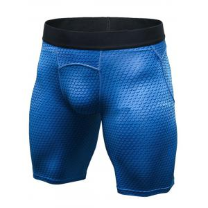 3D Geometric Print Quick Dry Fitted Gym Shorts