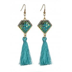 Faux Gemstone Geometric Tassel Hook Earrings - Sky Blue