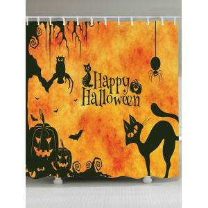 Waterproof Halloween Cat Print Shower Curtain