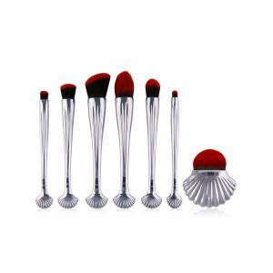 7Pcs Sea Shell Design Plating Makeup Brushes Set