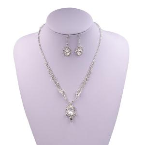 Sparkly Rhinestone Faux Gem Teardrop Jewelry Set