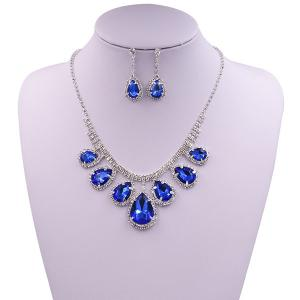 Rhinestone Faux Gem Teardrop Wedding Jewelry Set - Blue - L