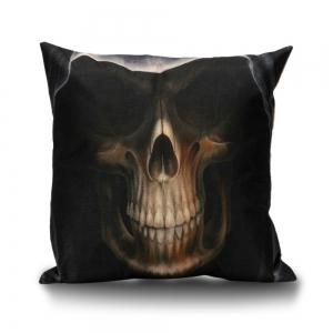 Hooded Skull Decorative Linen Sofa Pillowcase - Dun - 55*55cm