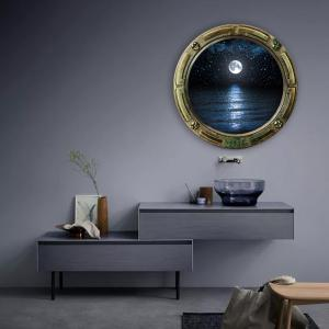 ... Window Sea Moon Removable 3D Wall Art Sticker ... Part 76