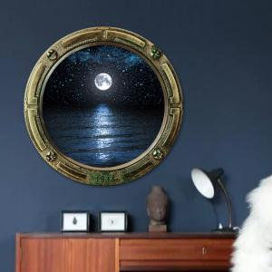 Window Sea Moon Removable 3D Wall Art Sticker