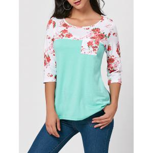 Floral Insert Pocket Tunic Tee - Green - 2xl