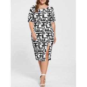 Slit Letter Graphic Tight Fitted Plus Size Dress