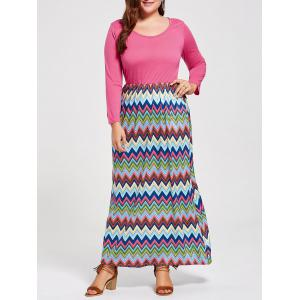 Plus Size Zigzag Long Sleeve Striped Maxi Dress