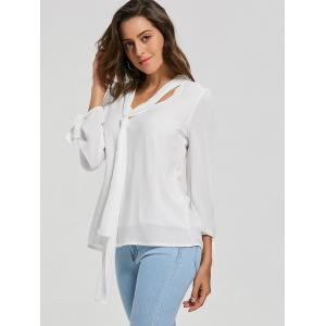 Chiffon Blouse with Optional Tie - WHITE XL