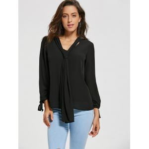 Chiffon Blouse with Optional Tie - BLACK S