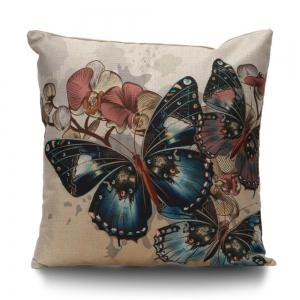 Butterfly Print Throw Linen Pillow Cover - Colormix - 45*45cm
