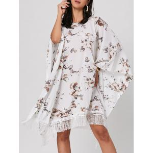 Batwing Sleeve Fringed Floral Midi Dress