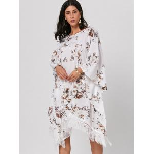 Batwing Sleeve Fringed Floral Midi Dress - WHITE ONE SIZE