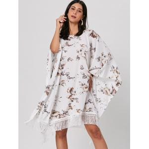 Batwing Sleeve Fringed Floral Midi Dress -