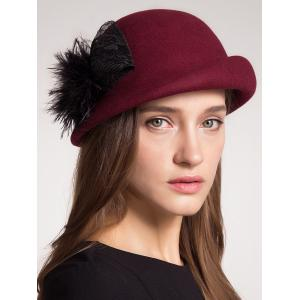 Curly Brim Pompon Bowknot Pillbox Hat - Claret