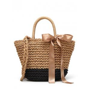 Ribbon Straw Bowknot Handbag
