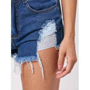 Denim Mini Distressed Cuff Off Shorts - DEEP BLUE L
