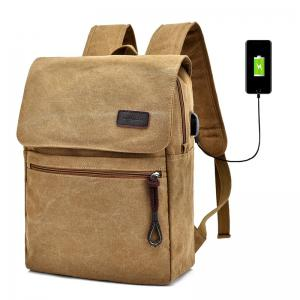 Zippers Canvas Double Pocket Backpack - Khaki