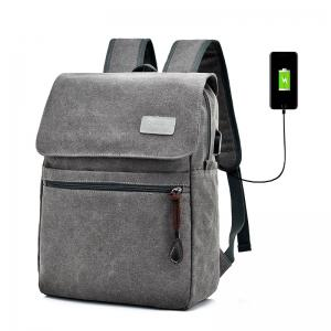 Zippers Canvas Double Pocket Backpack - Gray