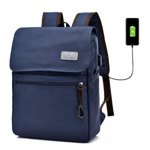 Zippers Canvas Double Pocket Backpack - Blue - 38