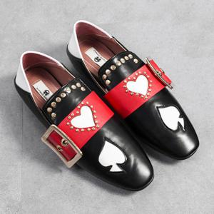 Heart Buckled Studded Slip On Flats - Black - 37